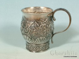 Silver-plated cup with ornaments