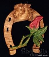 """Подкова, дърворезба """"Роза"""""""