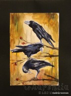 Painting ''Aquarelle Crows''
