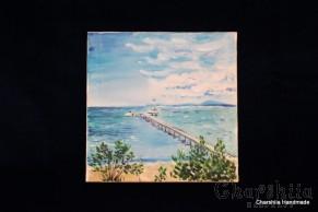 "Batik Silk Painting ''Sea 1"""