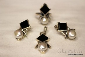 Silver set of three parts with Onyx and Pearl