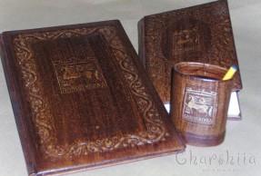 Бизнес комплект от адресна папка, бележник и моливник