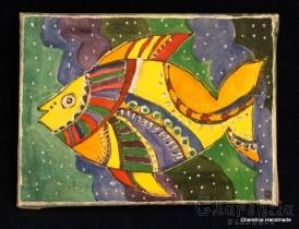 "Batik Silk Painting ''Fish 2"""