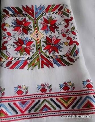 Дамска копринена блуза с българска шевица