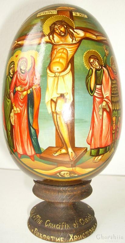 Разпятие Христово - рисувани икони върху дървени яйца