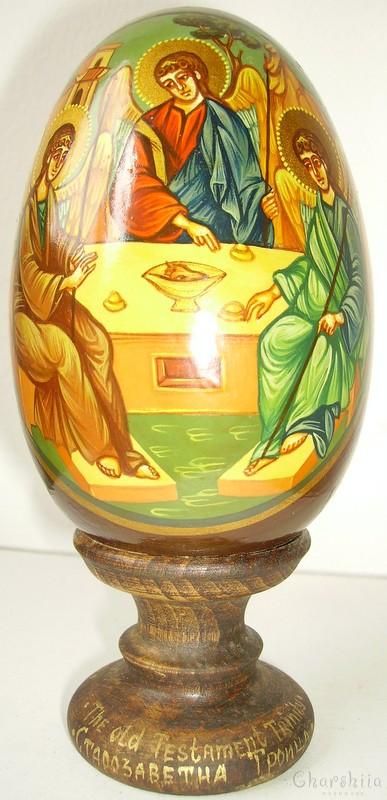 Старозаветна троица - рисувани икони върху дървени яйца