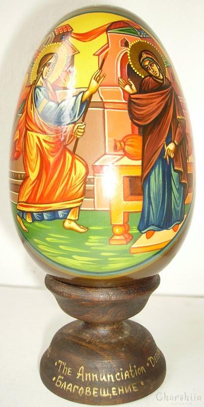 Благовещение - рисувани икони върху дървени яйца