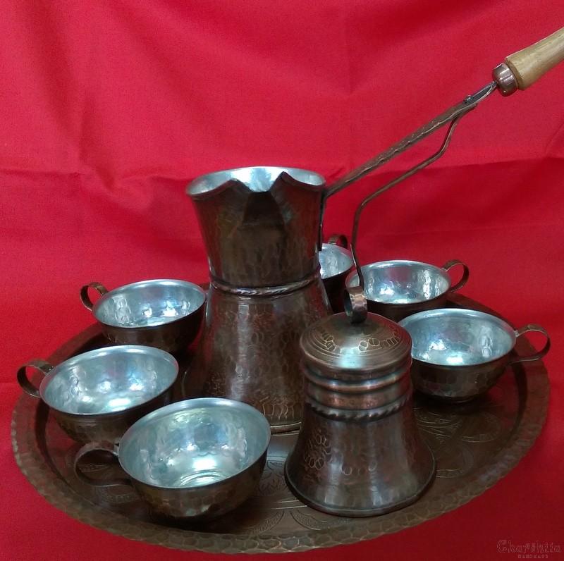 Сервиз за кафе /джезве, захарница, гравирана табла и 6 чаши/