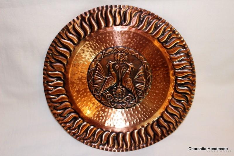Ръчно кована медна чиния за стена