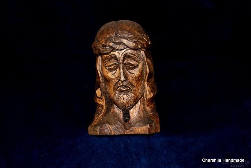 Дърворезба - Икона образ на Иисус с трънен венец