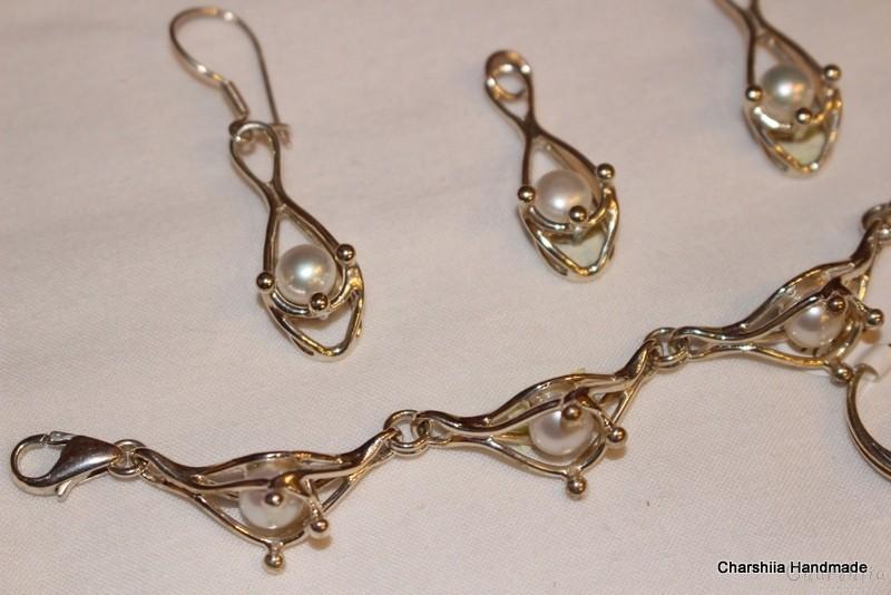 Сребърен комплект от четири части с Перли