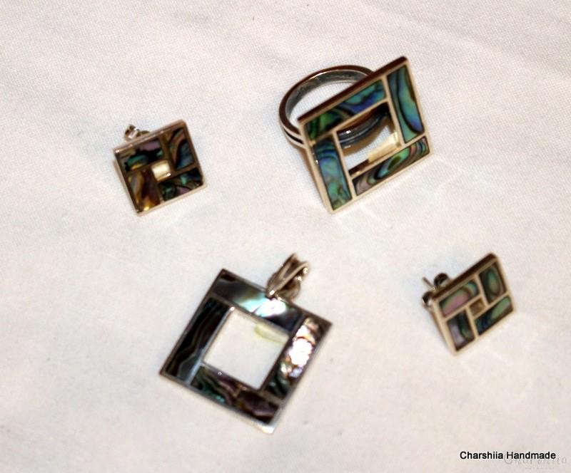 Сребърен комплект от три части със Цветен Седеф – майката на перлата, Ръчно изработен продукт