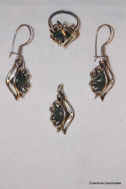 Сребърен комплект от три части със зелен мъхест Ахат