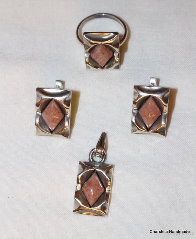 Сребърен комплект от три части с розов мъхест Ахат