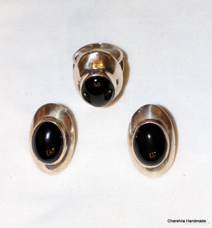 Сребърен комплект две части с Оникс