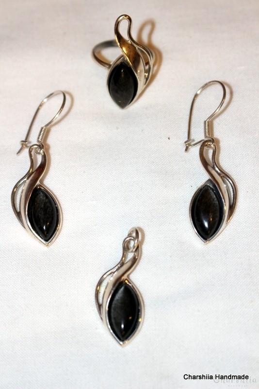Сребърен комплект от три части със сребрист Обсидиан