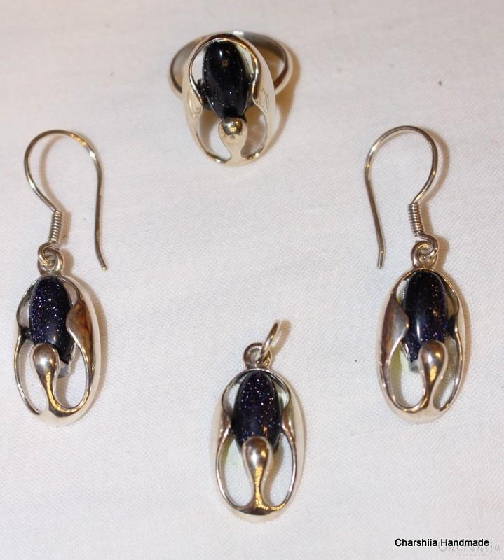 Сребърен комплект от три части с тъмно син Авантюрин
