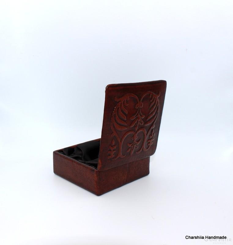 Кутия за бижута, ръчно изработена от естествена кожа, handmade, genuine leather
