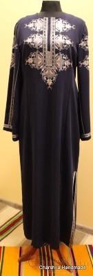 Дамска копринена рокля с българска шевица
