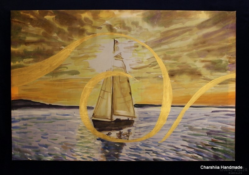 """Картина - Батик ''Море 4"""""""