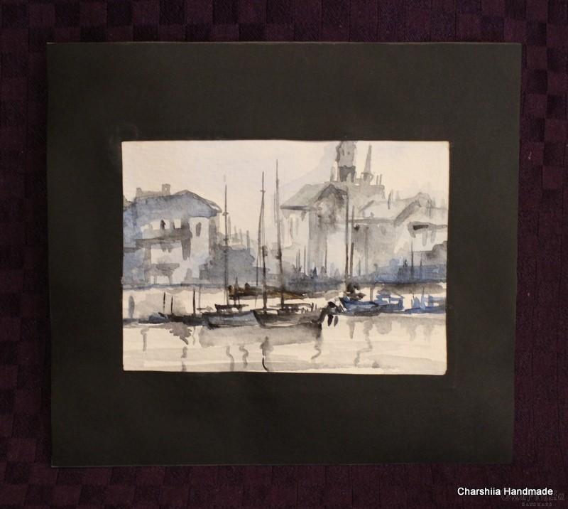 """Картина """"Акварел - Пристанищен град"""""""