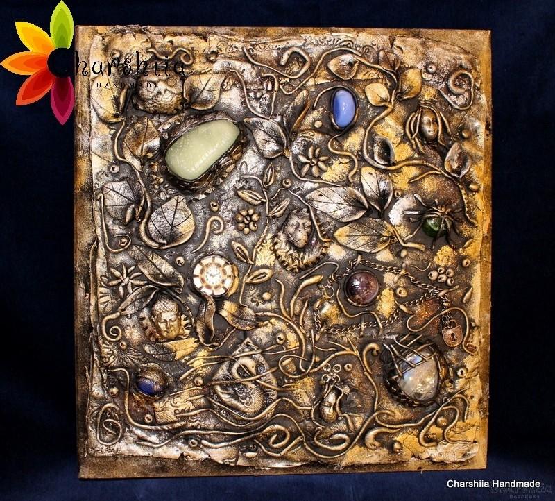 Фотоалбум с полимерна глина, декориран с елементи