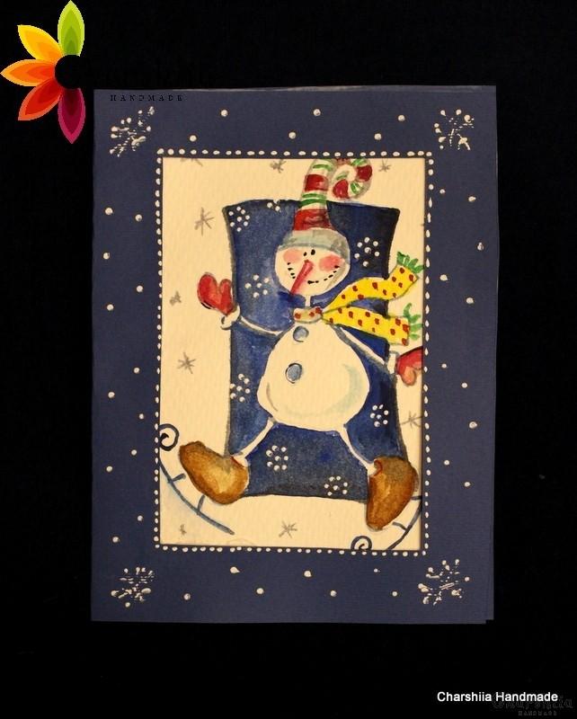 "Картина/Поздравителна картичка - Акварел ''Коледни усмивки"""
