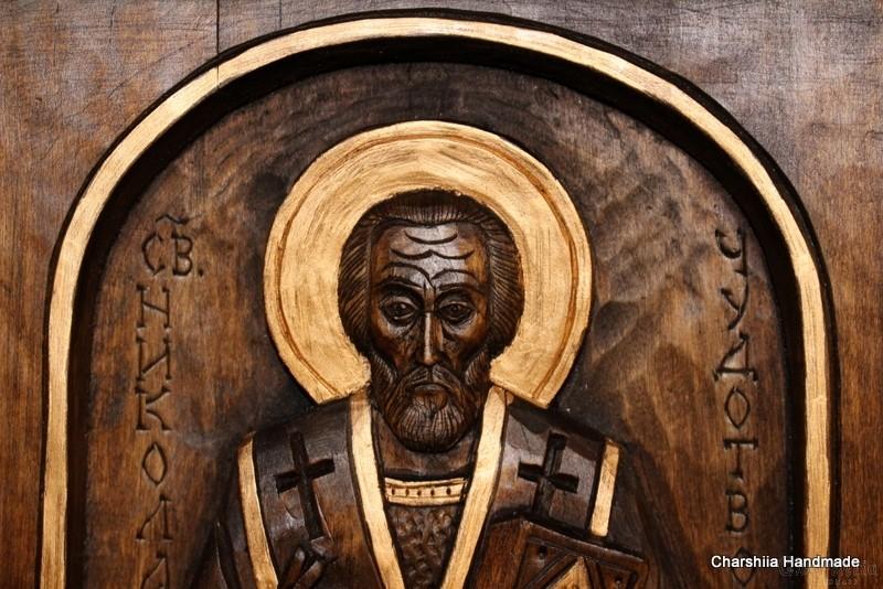 Дърворезба - Икона образ на ''Свети Николай Чудотворец''