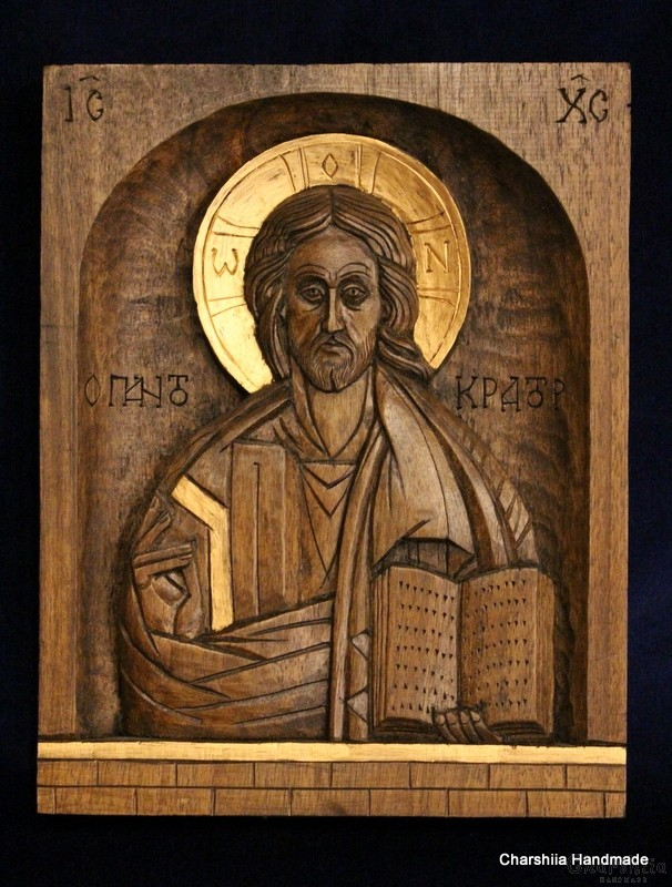 Дърворезба - Икона образ на Иисус Христос Вседържител (Пантократор)