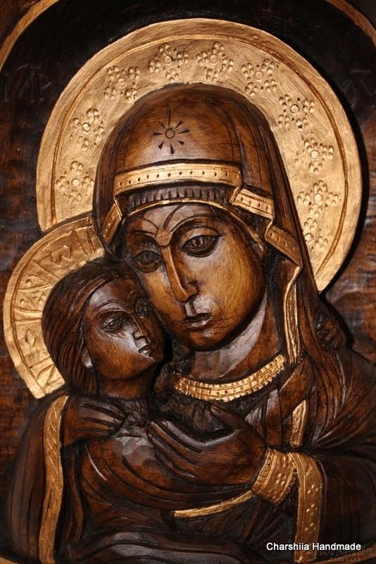 Дърворезба - Икона на ''Богородица Умиление-Елеуса''