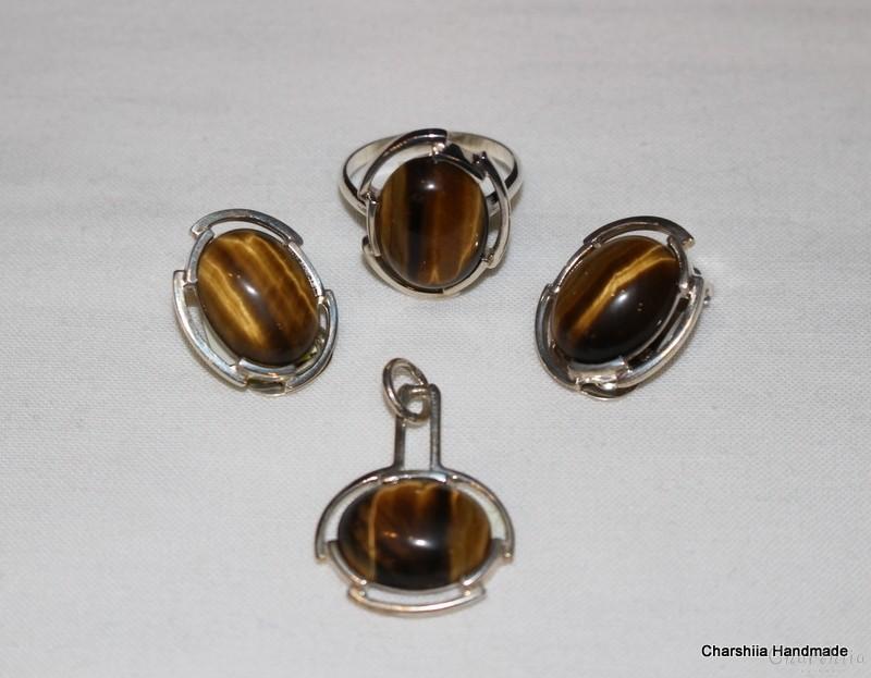 Сребърен комплект от три части с Тигрово око