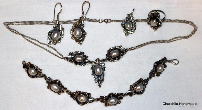 Сребърен комплект от пет части с Перли