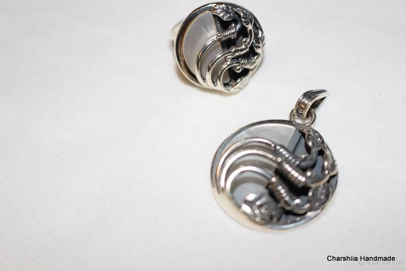 Сребърен комплект от две части със Седеф – майката на перлата