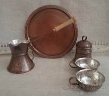 Coffee service /pot, sugar bowl, tray and 2 cups/