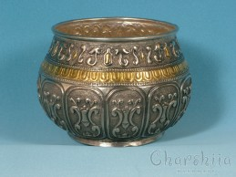 Copper relief bowl/Bratina