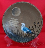 "Decorative wall painted plate ""Gull"""