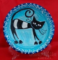 "Decorative wall painted plate ""Cat"""