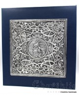 Photoalbum in dark blue high quality cardboard, decorated with aluminum plate with floral ornaments