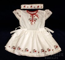 Child dress and headband with Bulgarian Embroidery
