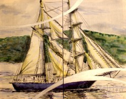 "Batik Silk Painting ''Sea 5"""