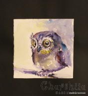 Painting ''Aquarelle - Owl''