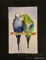 Painting ''Aquarelle - Parrots'' 2