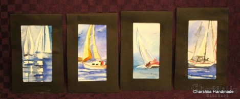 "Painting ''Aquarelle - Sailing"", Set of 4 pieces"