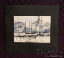 Painting ''Aquarelle - Port city''