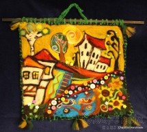 "Felt wall painting ""Bulgarian village"""
