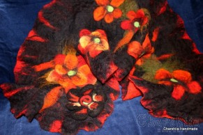 Felted scarf ''Red flower""