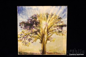 Batik Silk Painting ''Energy wood 1""