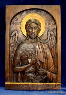 Woodcarving - Icon image of St. John the Baptist of the Lord