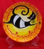 """Ръчно рисувана декоративна стенна чиния """"Котка"""""""