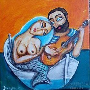 Painting ''Fisherman and mermaid'' 4